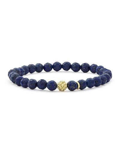 Lagos 18k Gold Caviar Icon Lapis Beaded Stretch Bracelet, 6mm In Silver/ Lapis