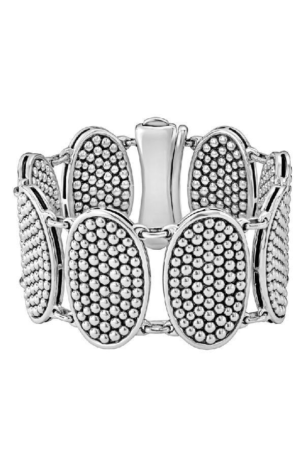 Lagos Sterling Silver Bold Caviar Ellipse Link Bracelet