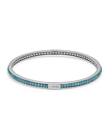 Lagos Sterling Silver Caviar Icon Turquoise Beaded Bangle Bracelet In Silver/ Turquoise