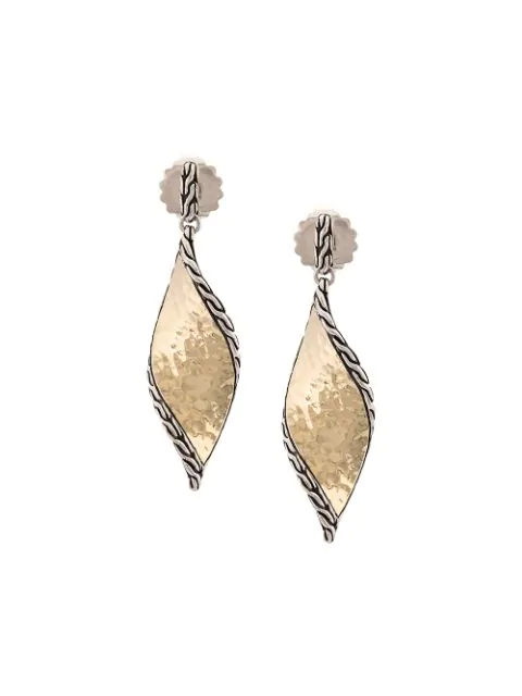 John Hardy Sterling Silver & 18k Bonded Gold Classic Chain Hammered Drop Earrings
