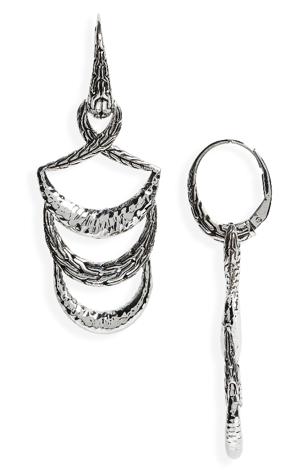 John Hardy Classic Chain Hammered Drop Earrings In Silver