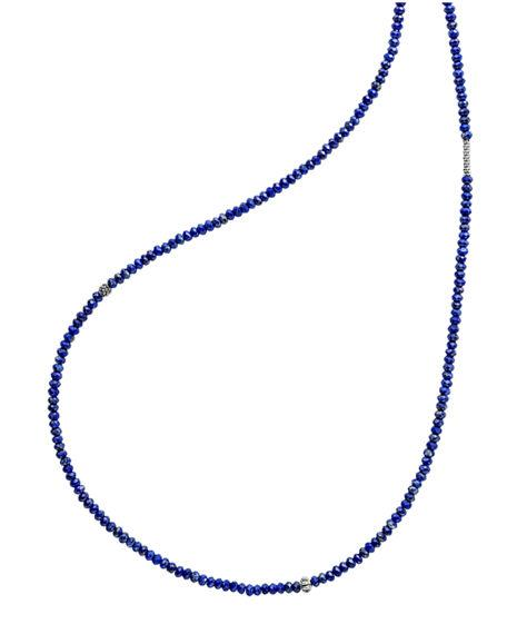 Lagos Sterling Silver Caviar Icon Lapis Five Station Strand Necklace, 34 In Silver/ Lapis