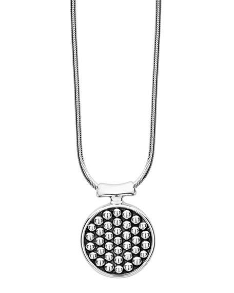 Lagos Sterling Silver Bold Caviar Round Pendant Necklace, 16