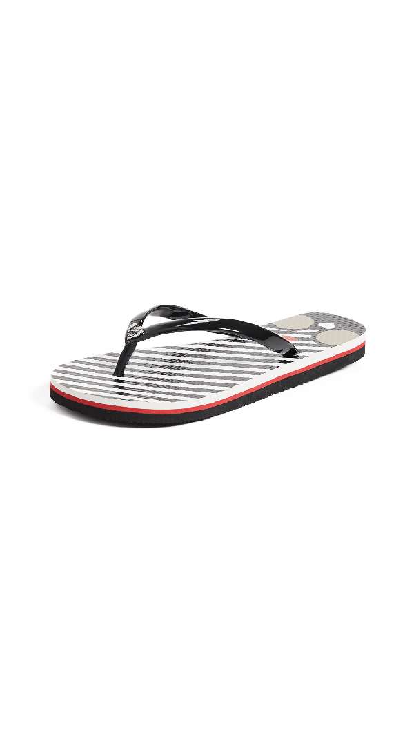 Alice And Olivia Stripe And Face Print Flip Flops In Black