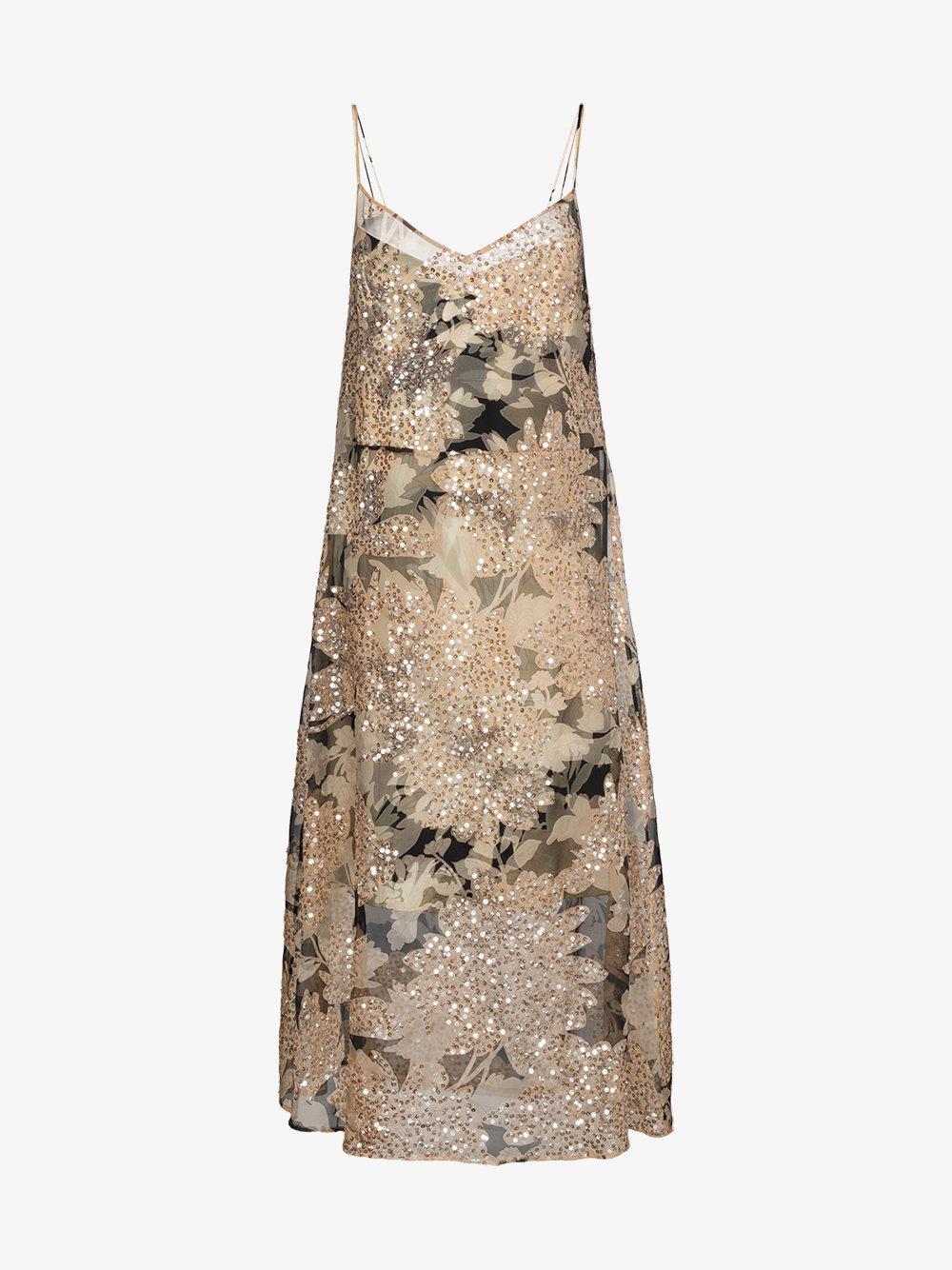 Dries Van Noten Strappy Floral Sequinned Dress In Nude & Neutrals
