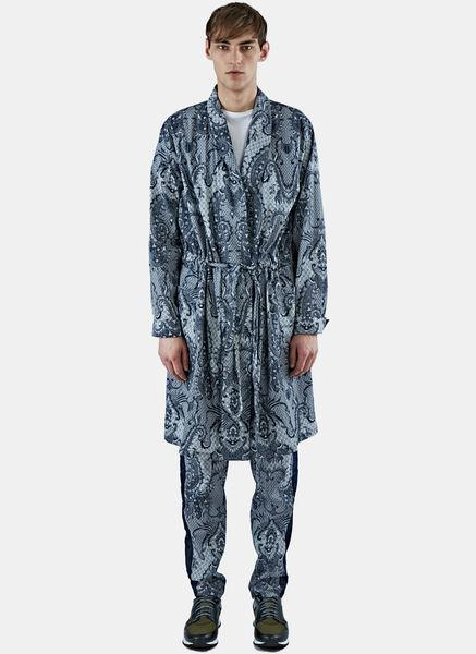 James Long Men's Long Paisley Jacket In Blue And White