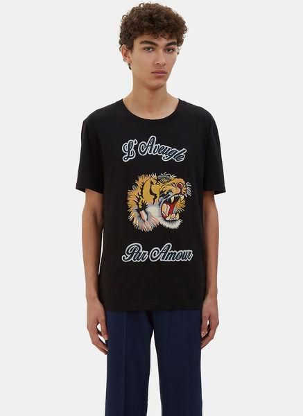 Gucci Men's Embroidered Tiger Crew Neck T-shirt In Black