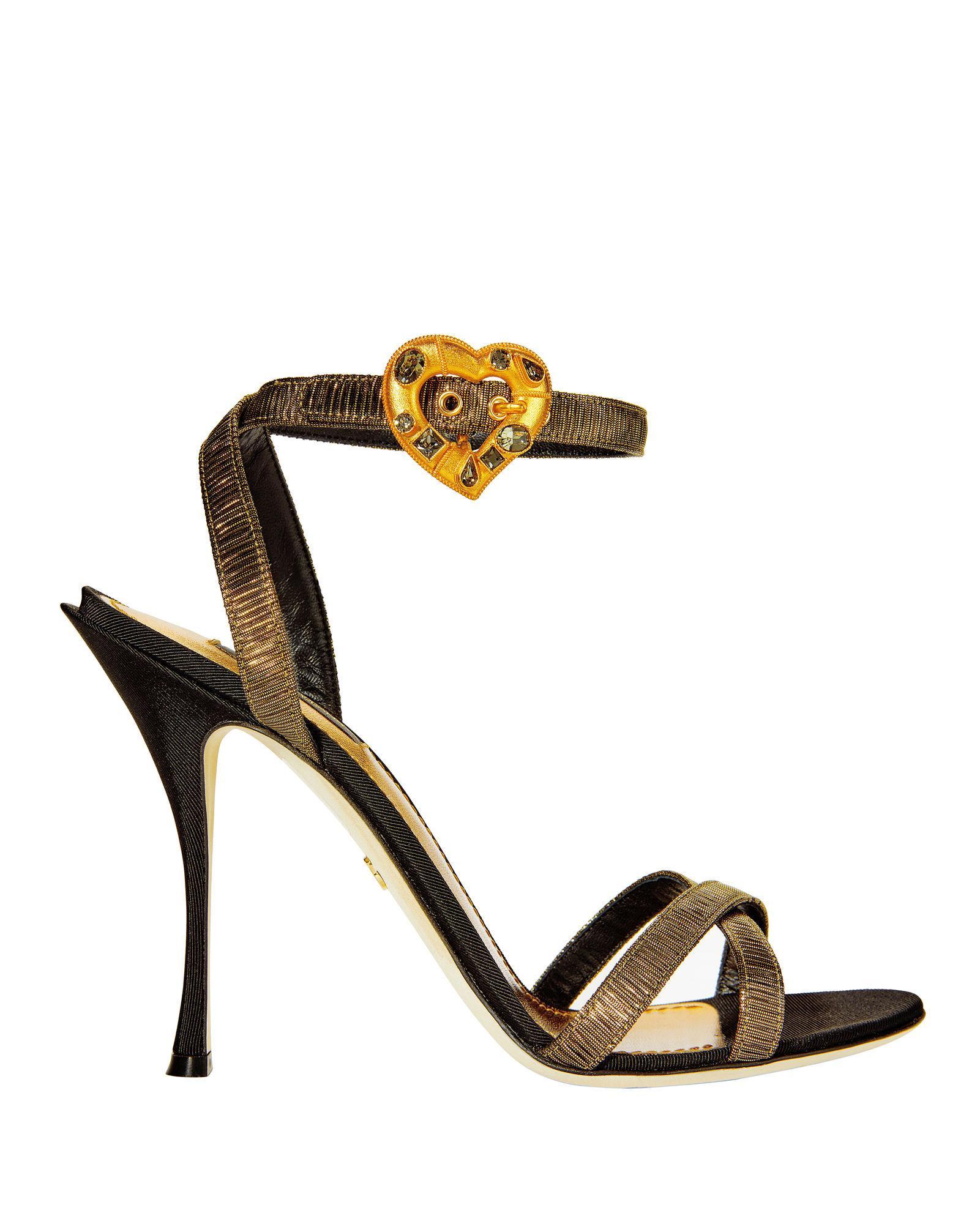 Dolce & Gabbana Gold Lurex Crystal Heart Buckle Sandals Metallic
