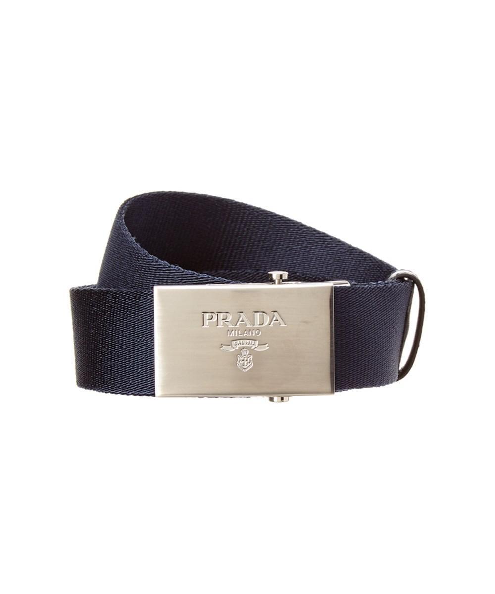 Prada Technical Fabric Belt In Blue