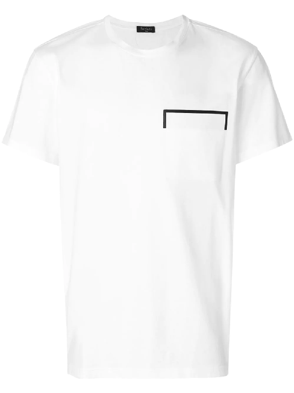 Berluti Crew-neck Leather-trimmed Cotton T-shirt In White