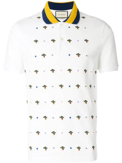 Gucci Embroidered Polo Shirt In White