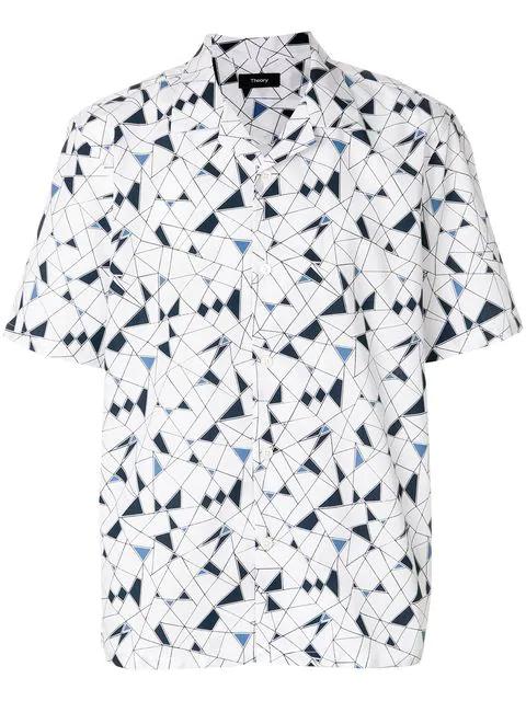 Theory Daze Camp-collar Printed Cotton-poplin Shirt - White