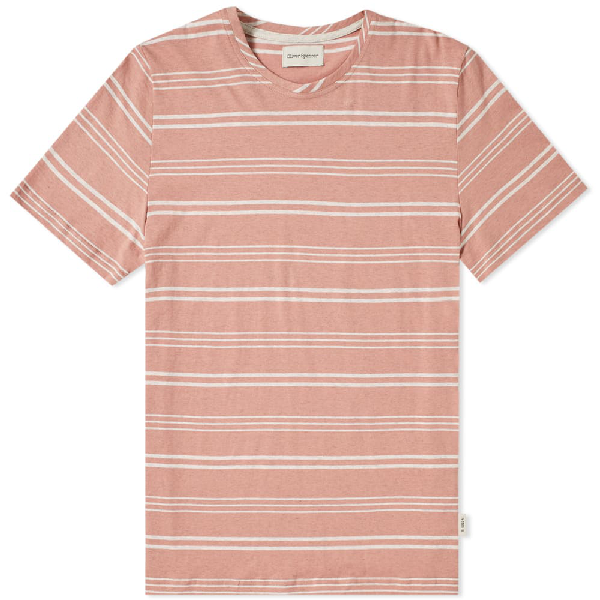 Oliver Spencer Conduit Striped Cotton-jersey T-shirt In Pink