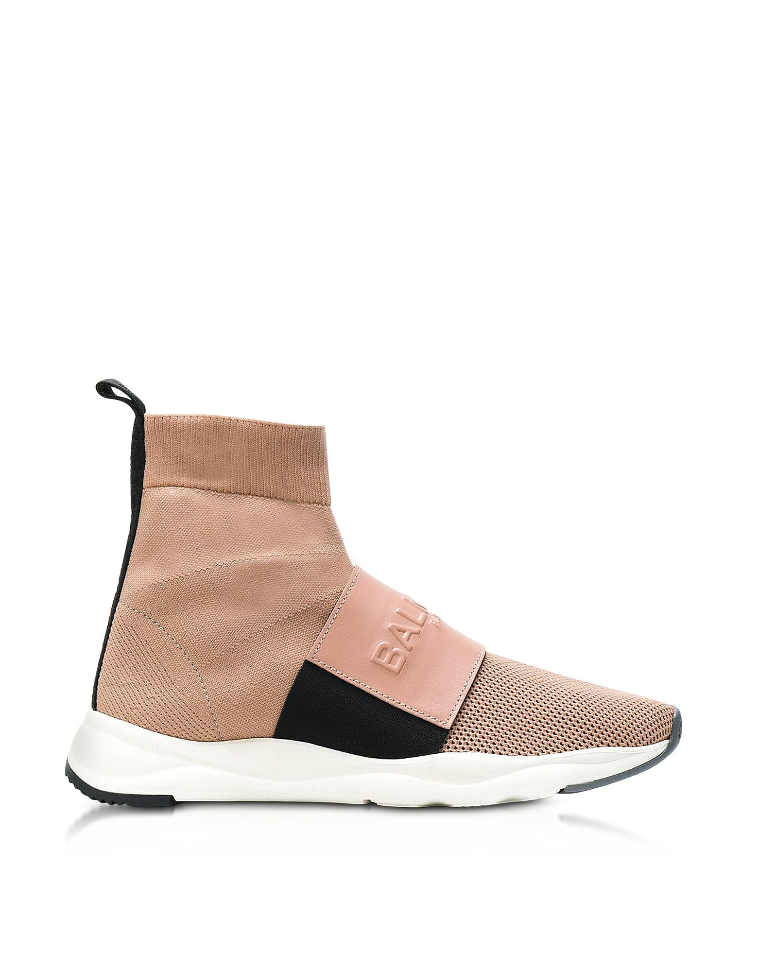 Balmain Powder Nylon And Leather Cameron Running Women's Sneakers In Nude
