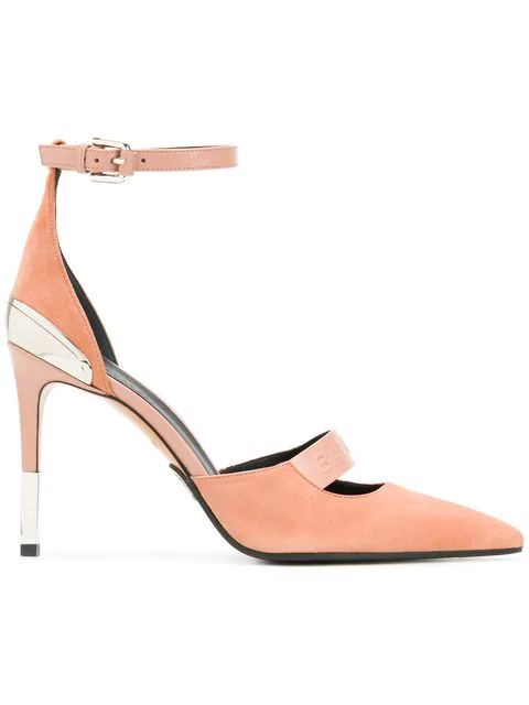Balmain Powder Pink Suede Ankle Wrap Chance Pumps In Neutrals