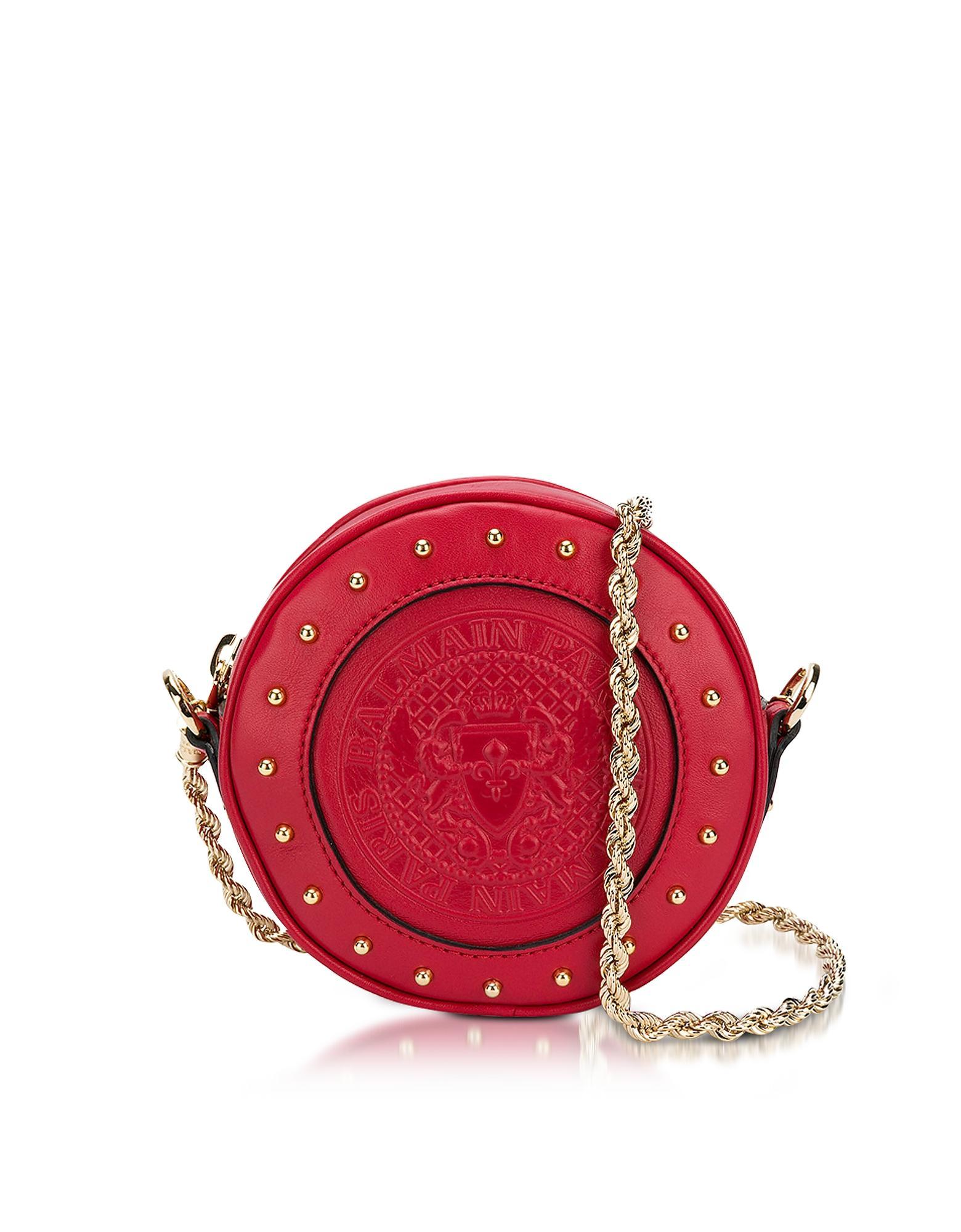 Balmain Renaissance Red Smooth Leather Mini Disco Bag W/embossed Blazon