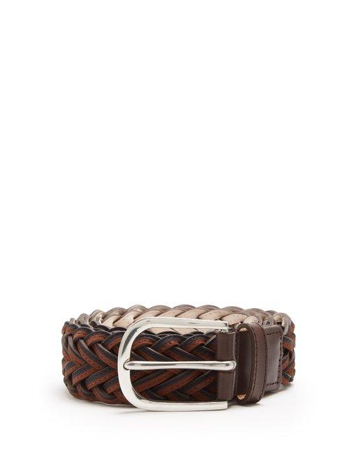 Paul Smith Leather Braided Belt In Black Multi
