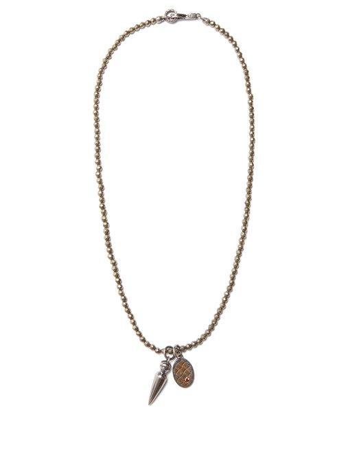 Bottega Veneta Point-pendant Necklace In Silver