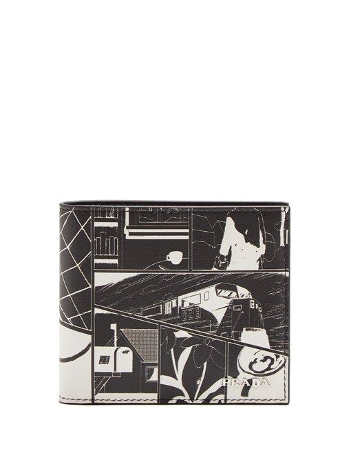 Prada Comic-print Leather Bi-fold Wallet In Black