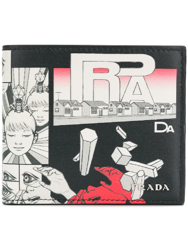 Prada Comic-print Leather Bi-fold Wallet In Black