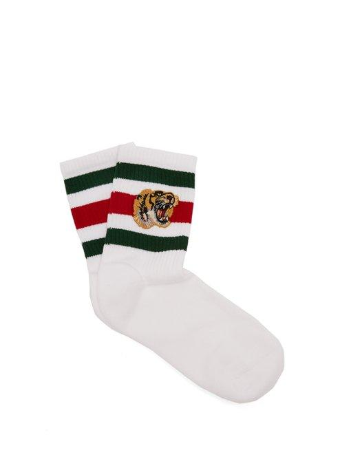 Gucci Tiger-embroidered Cotton-blend Socks In White Multi