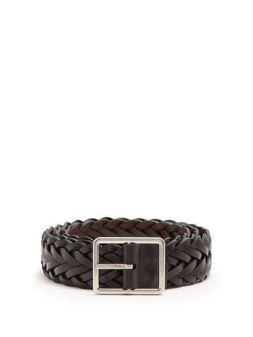Paul Smith Reversible Braided-leather Belt In Black