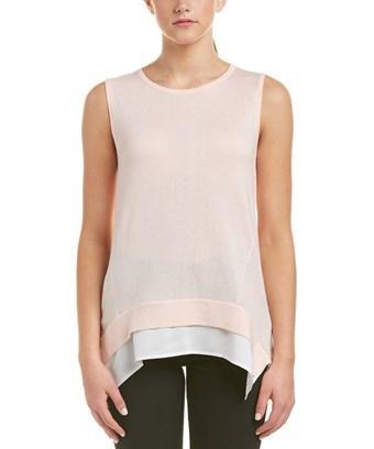 Joan Vass Handkerchief Hem Sweater In Pink