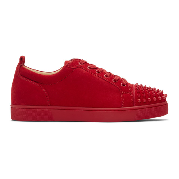 Christian Louboutin Louis Junior Spike-Embellished Suede Trainers In Red