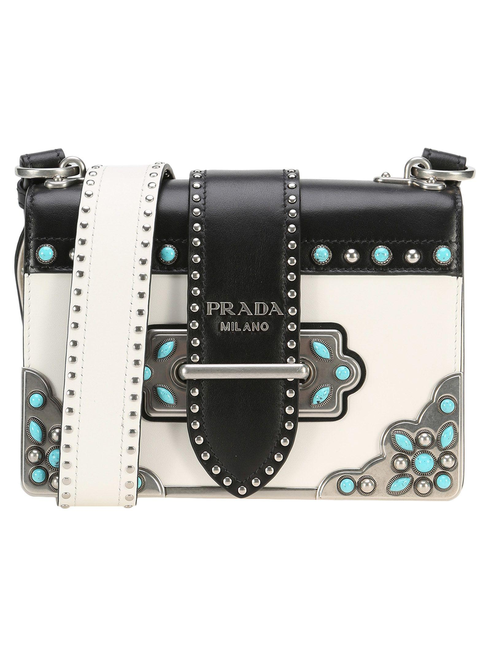 Prada Cahier Folk In White+black