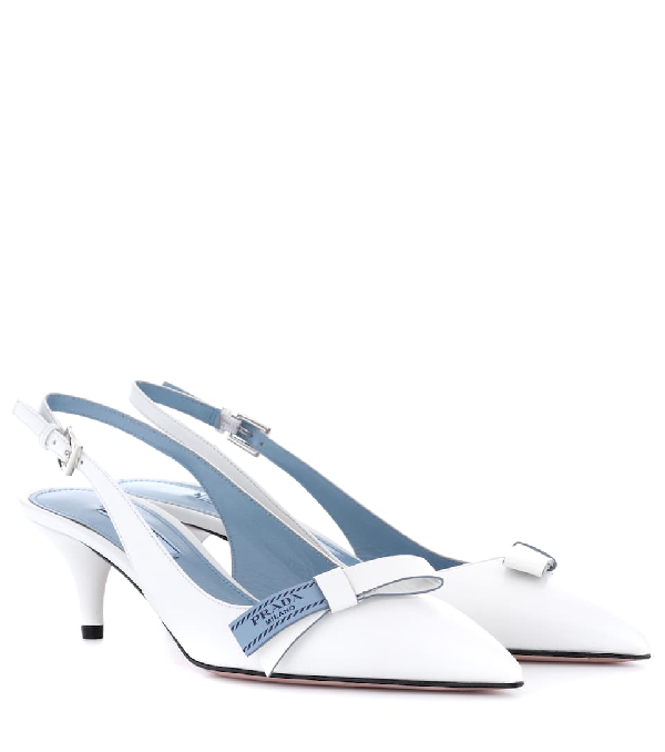 Prada Leather Sling-back Pumps In White