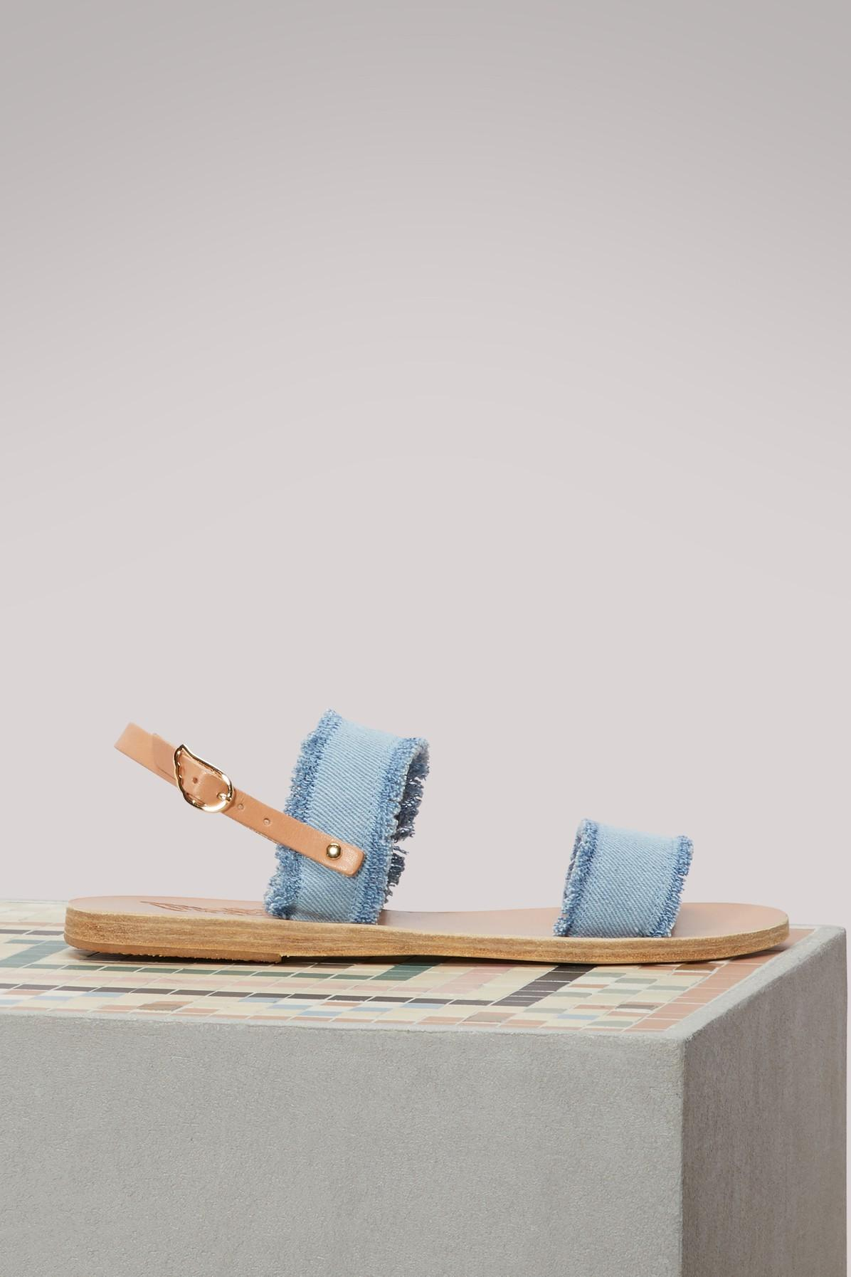 Ancient Greek Sandals Clio Denim Sandals In Light Denim