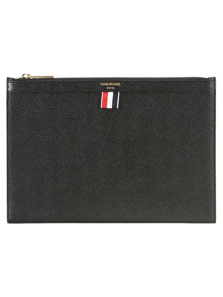 Thom Browne Small Zipper Tablet Holder In Pebble Grain In Black
