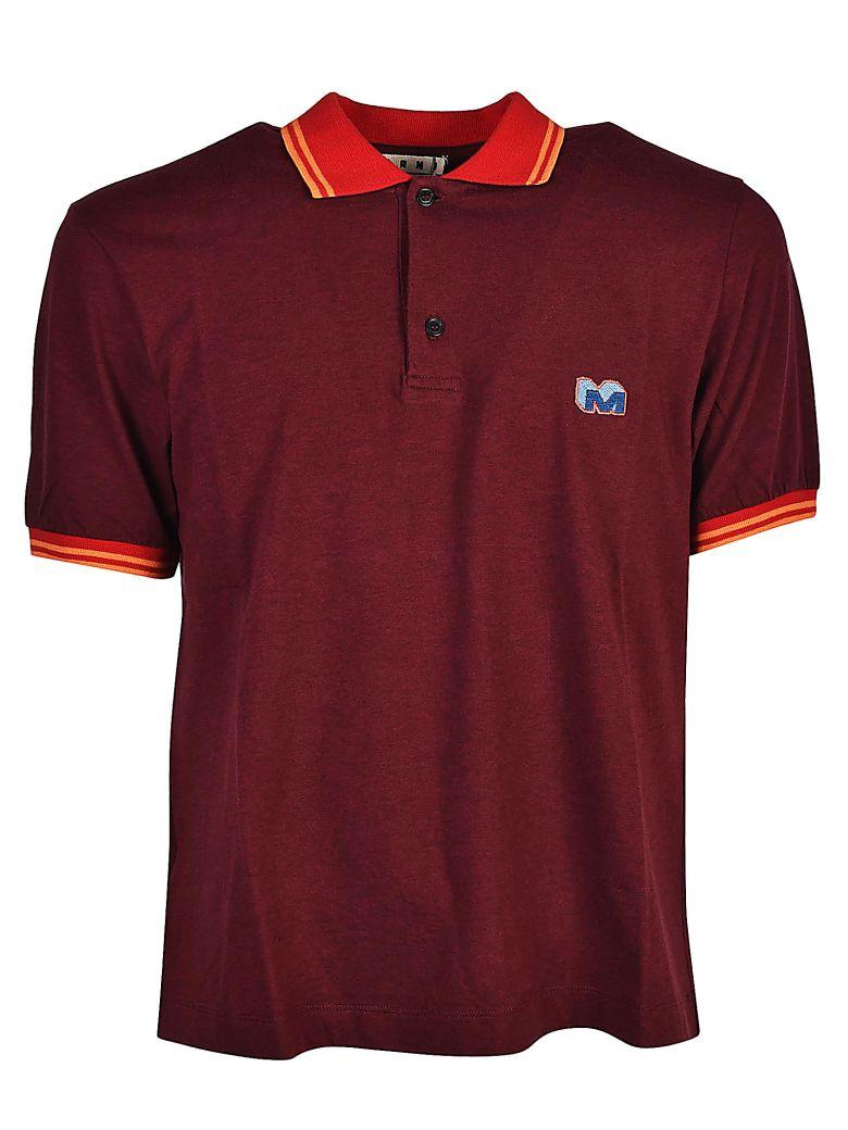 Marni Logo Patched Polo Shirt In Bordeaux