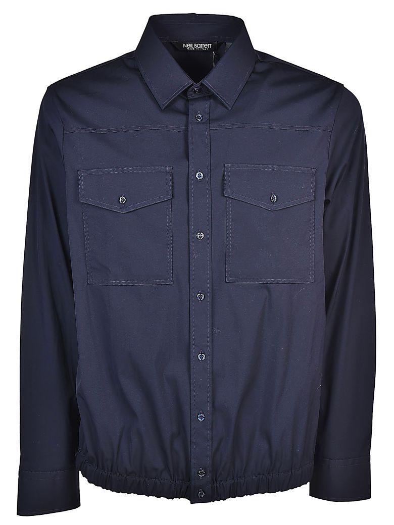 Neil Barrett Ribbed Shirt In Dark Navy