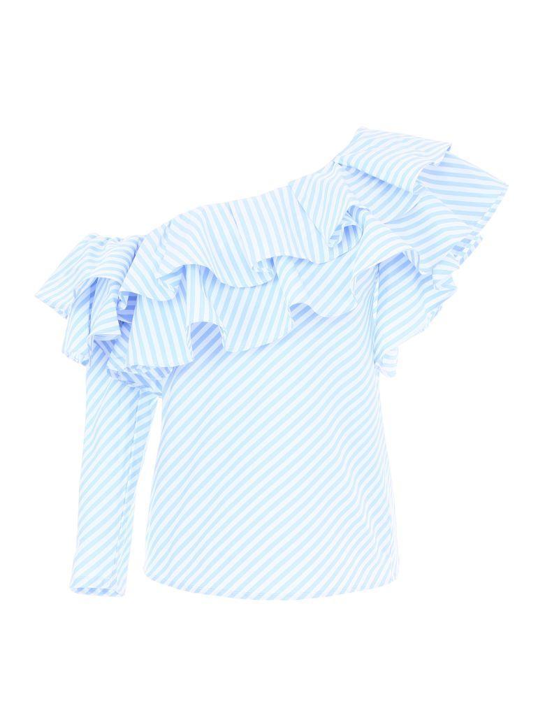 Forte Couture Striped Zita Top In Blue/white (white)