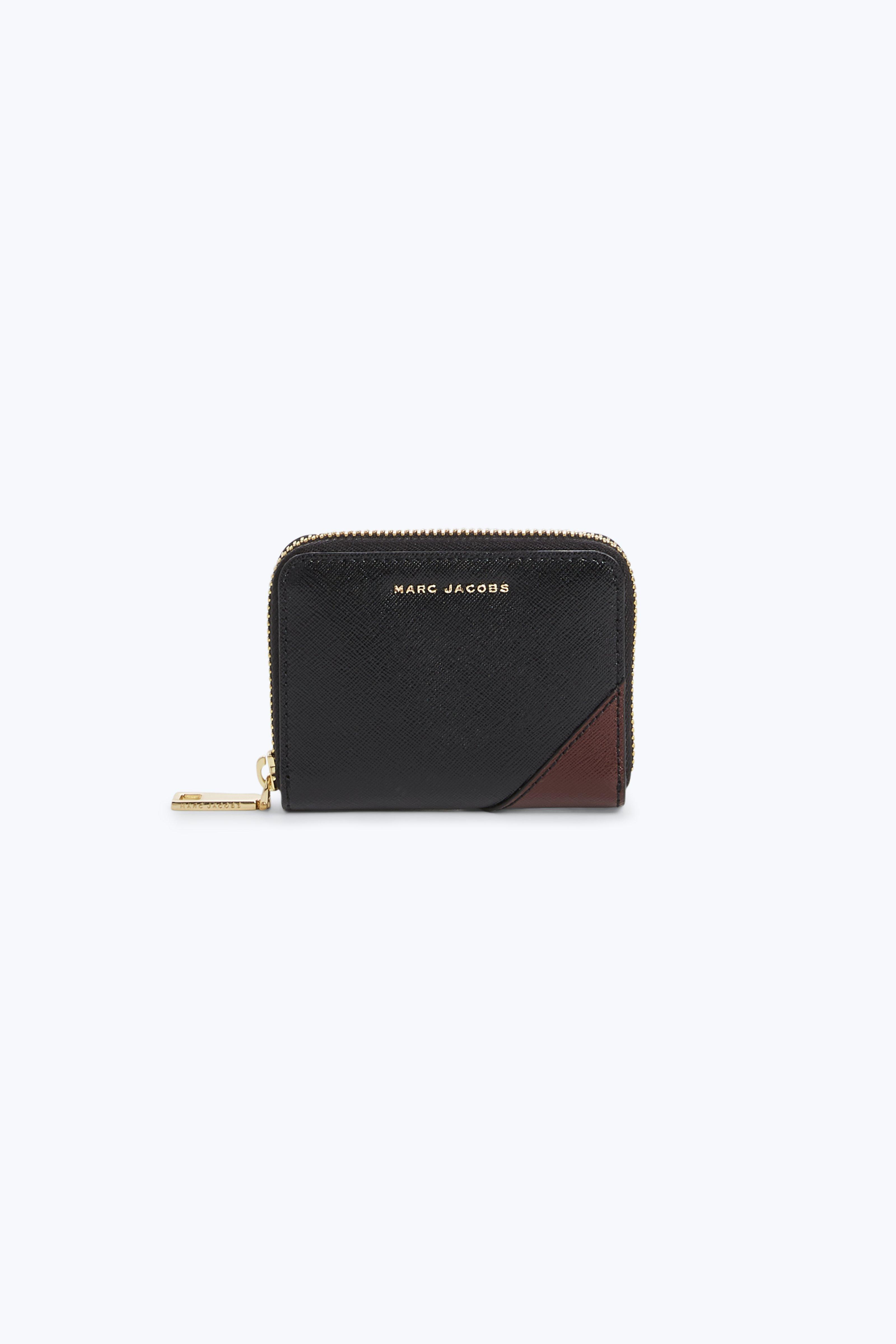 Marc Jacobs Saffiano Metal Letters Zip Card Case In Black Multi