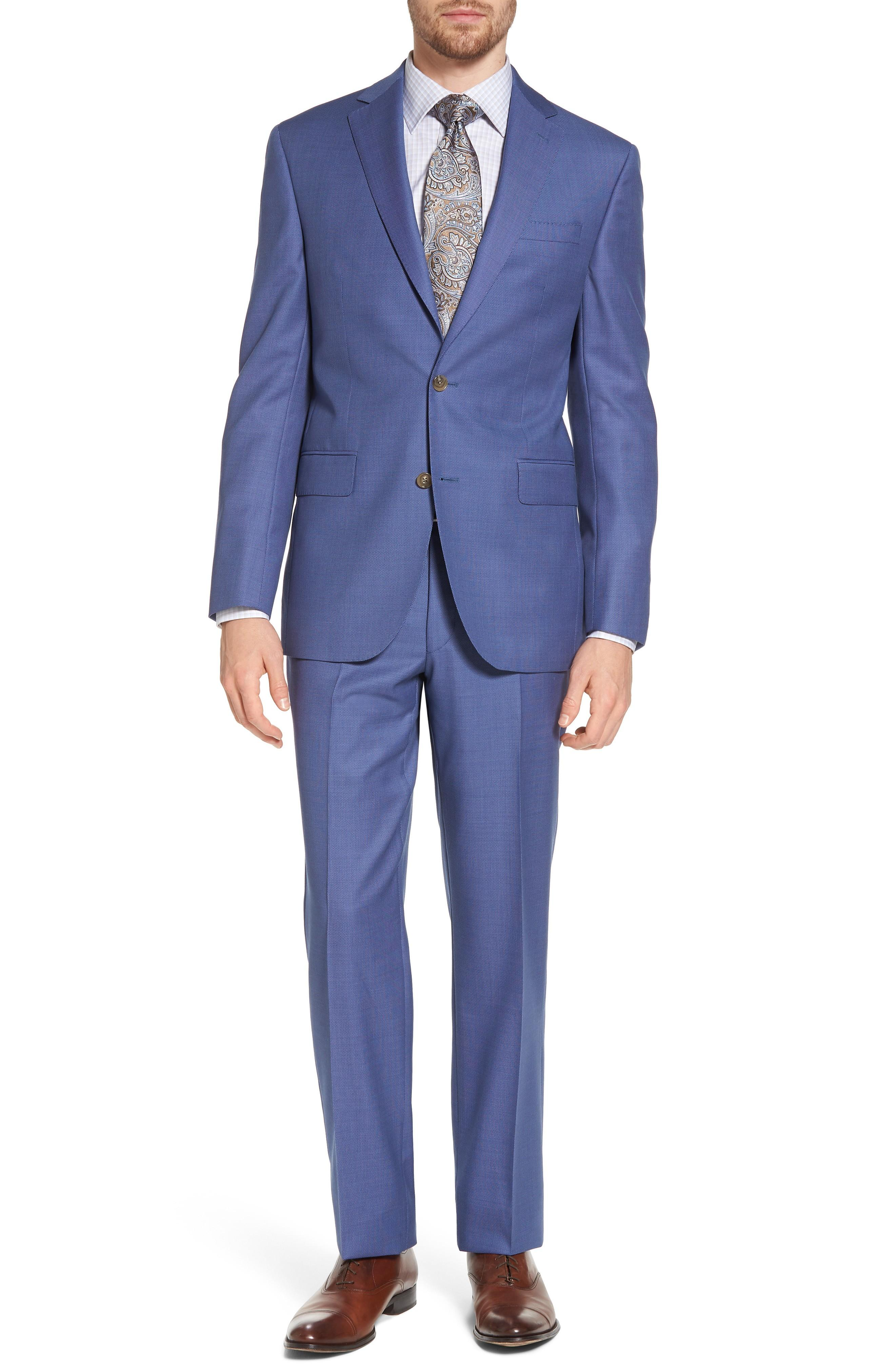 David Donahue Ryan Classic Fit Solid Wool Suit In Blue