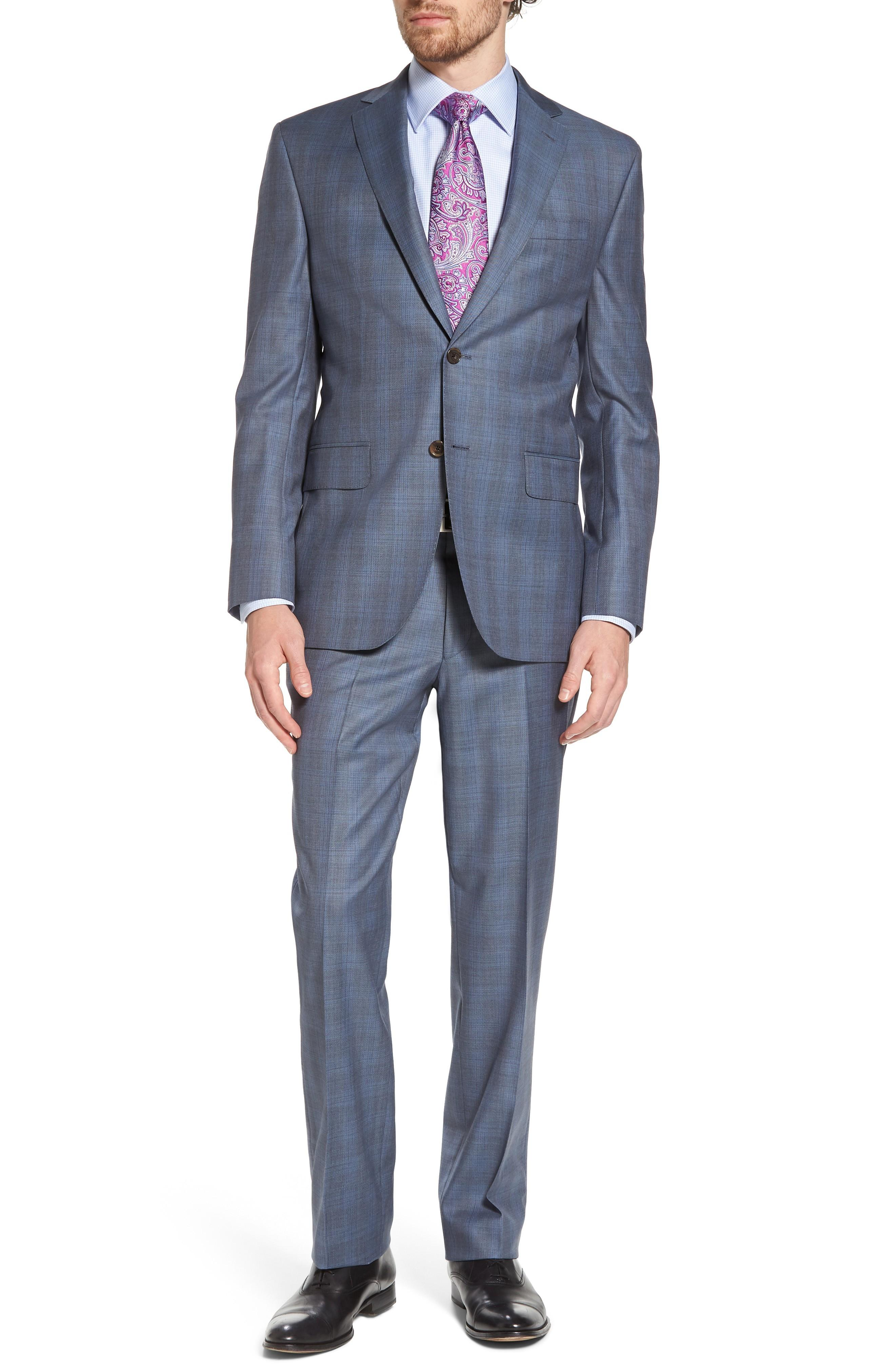 David Donahue Ryan Classic Fit Plaid Wool Suit In Grey