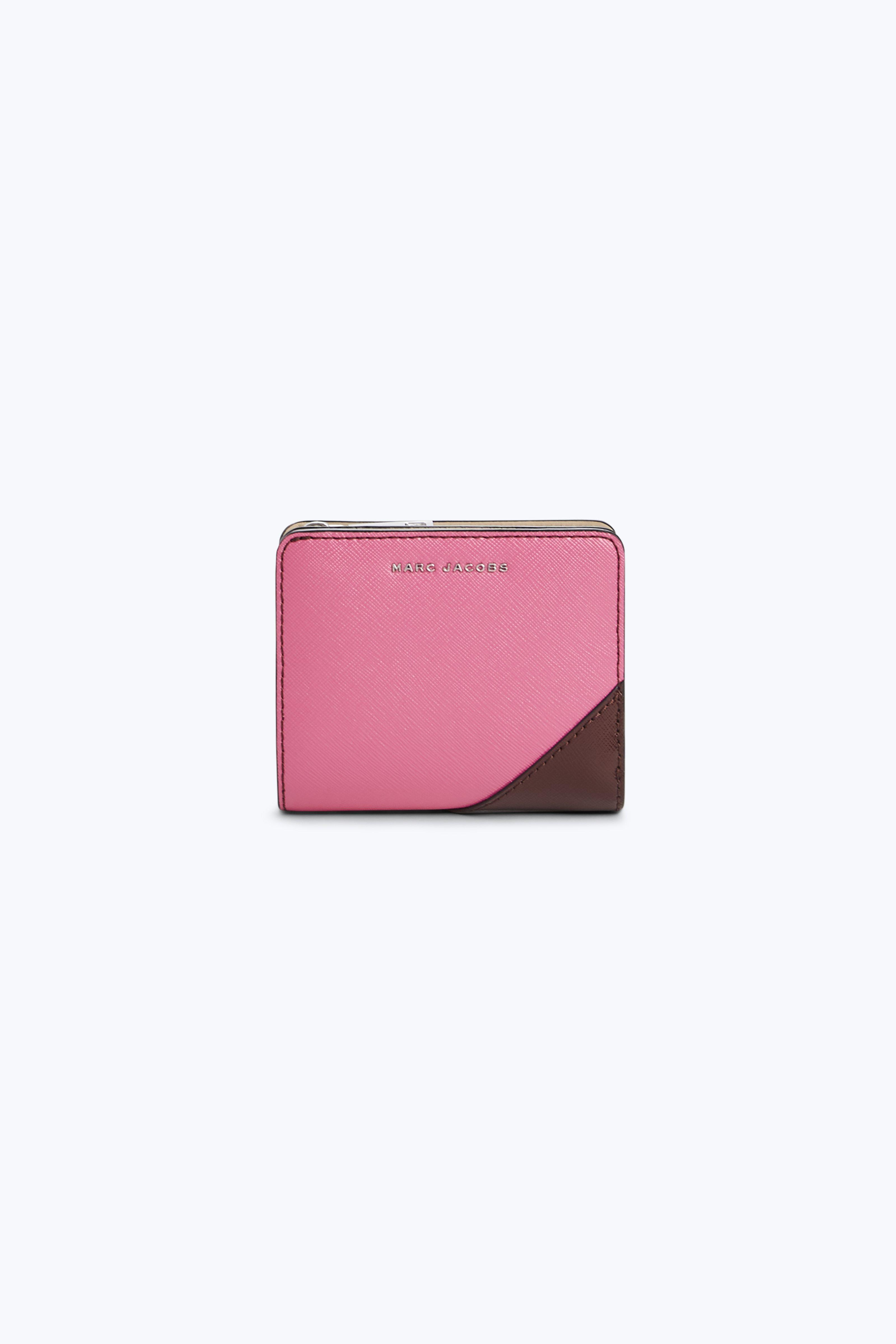 Marc Jacobs Saffiano Metal Letters Mini Compact Wallet In Tulip Pink Multi