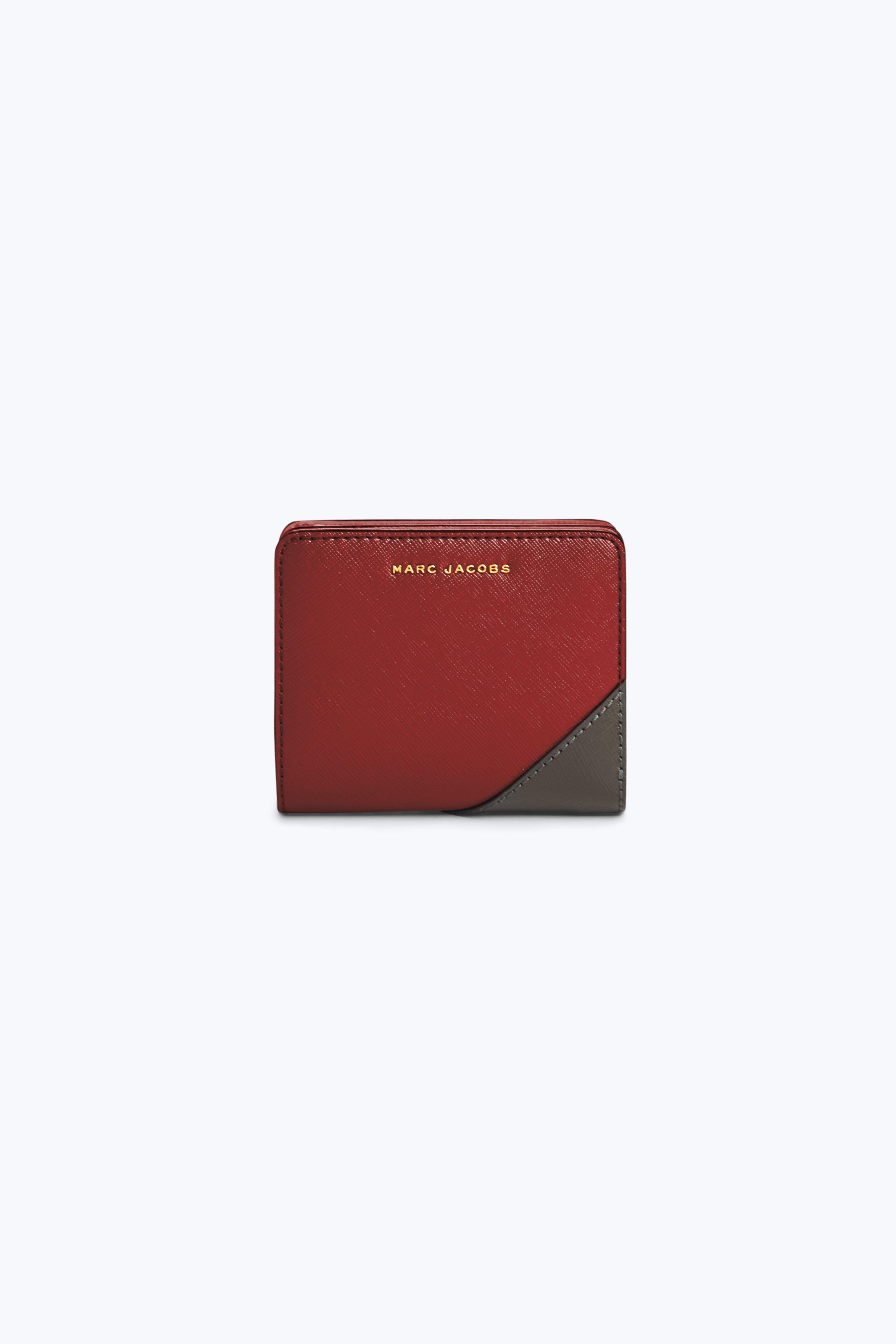 Marc Jacobs Saffiano Metal Letters Mini Compact Wallet In Deep Maroon Multi