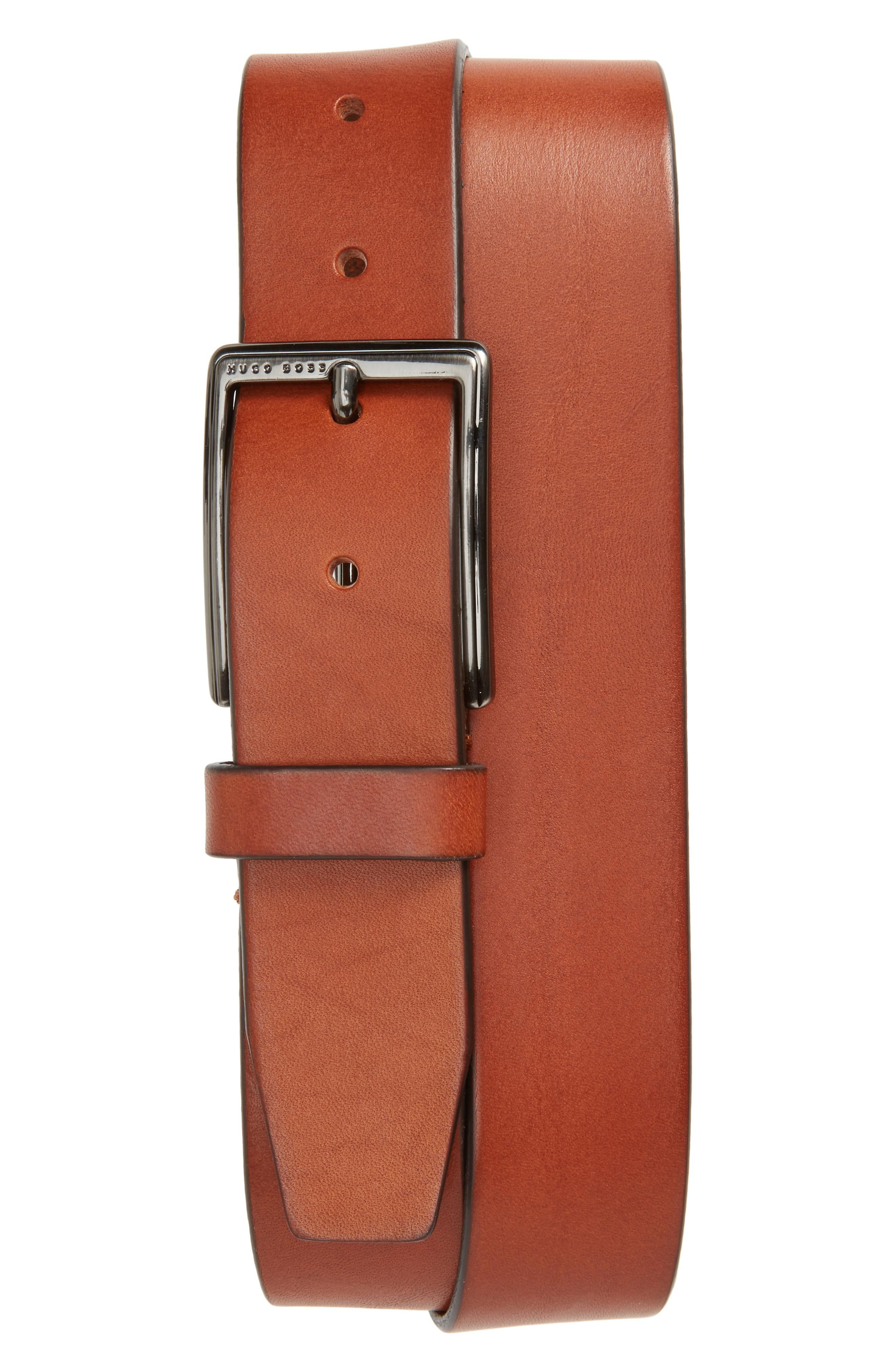 Hugo Boss Sammyo Leather Belt In Medium Brown