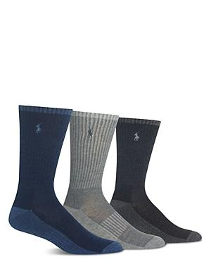 Ralph Lauren Heather Crew Socks, Pack Of 3 In Denim/ Grey/ Charcoal