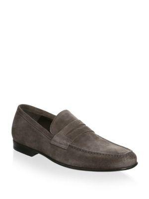 To Boot New York Alek   Leather Penny Loafers In Brown Suede