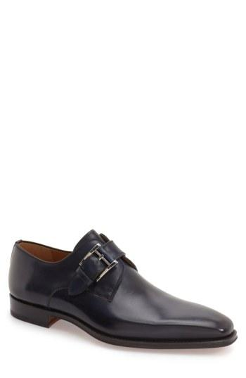 Magnanni Marco Monk Strap Loafer In Navy Leather
