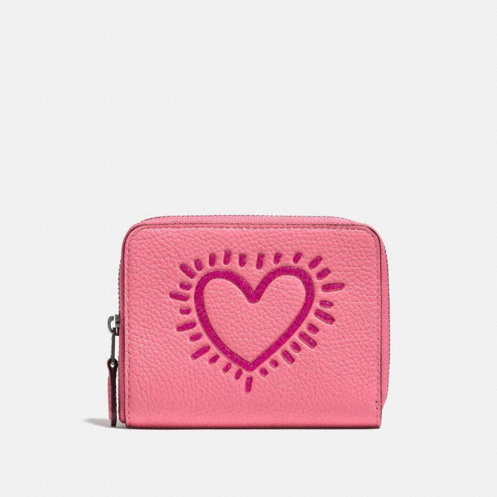 Coach X Keith Haring Small Zip Around Wallet In Bright Pink/black Copper