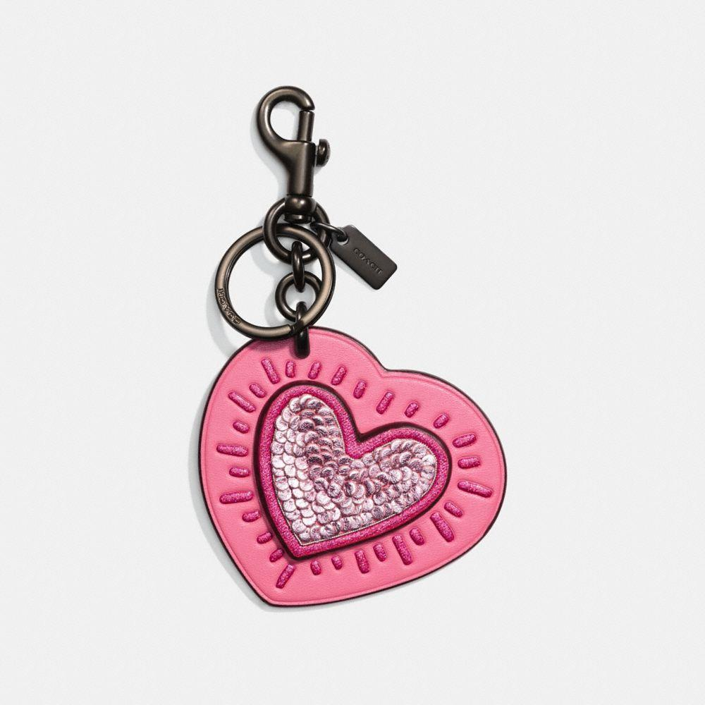 Coach X Keith Haring Bag Charm In Bright Pink/black