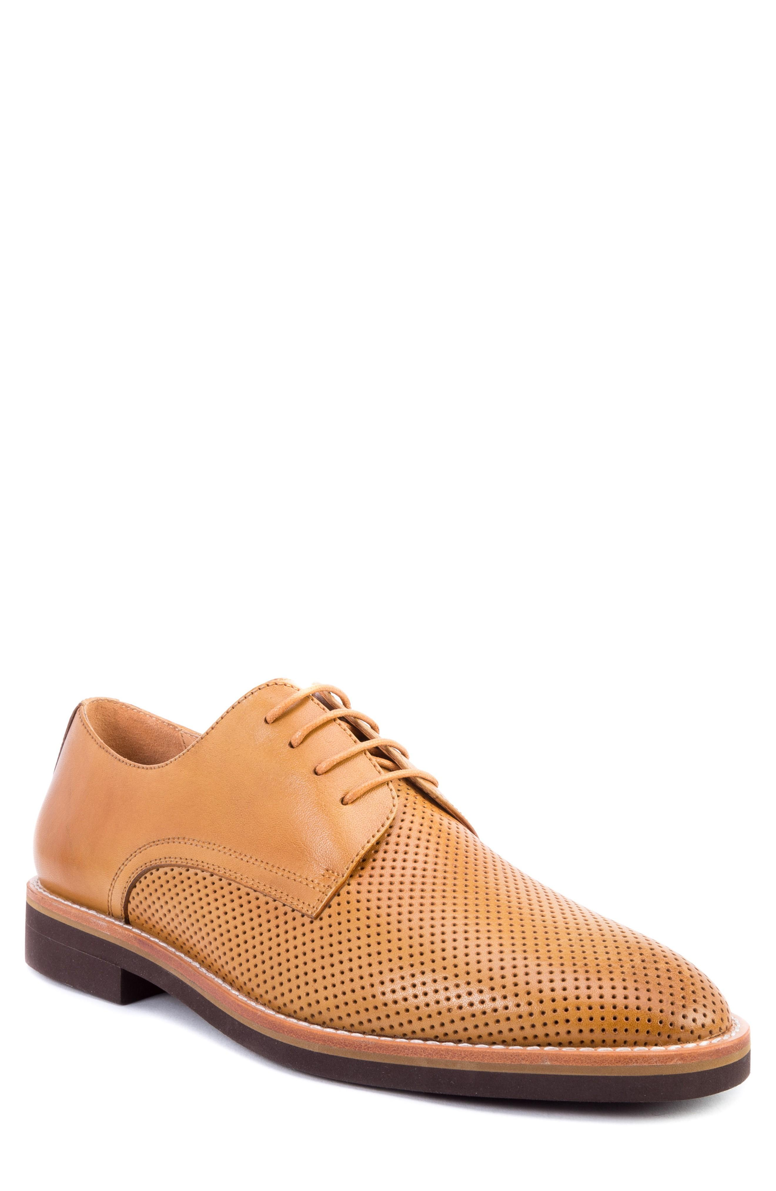 Zanzara Hartung Perforated Plain Toe Derby In Cognac Leather