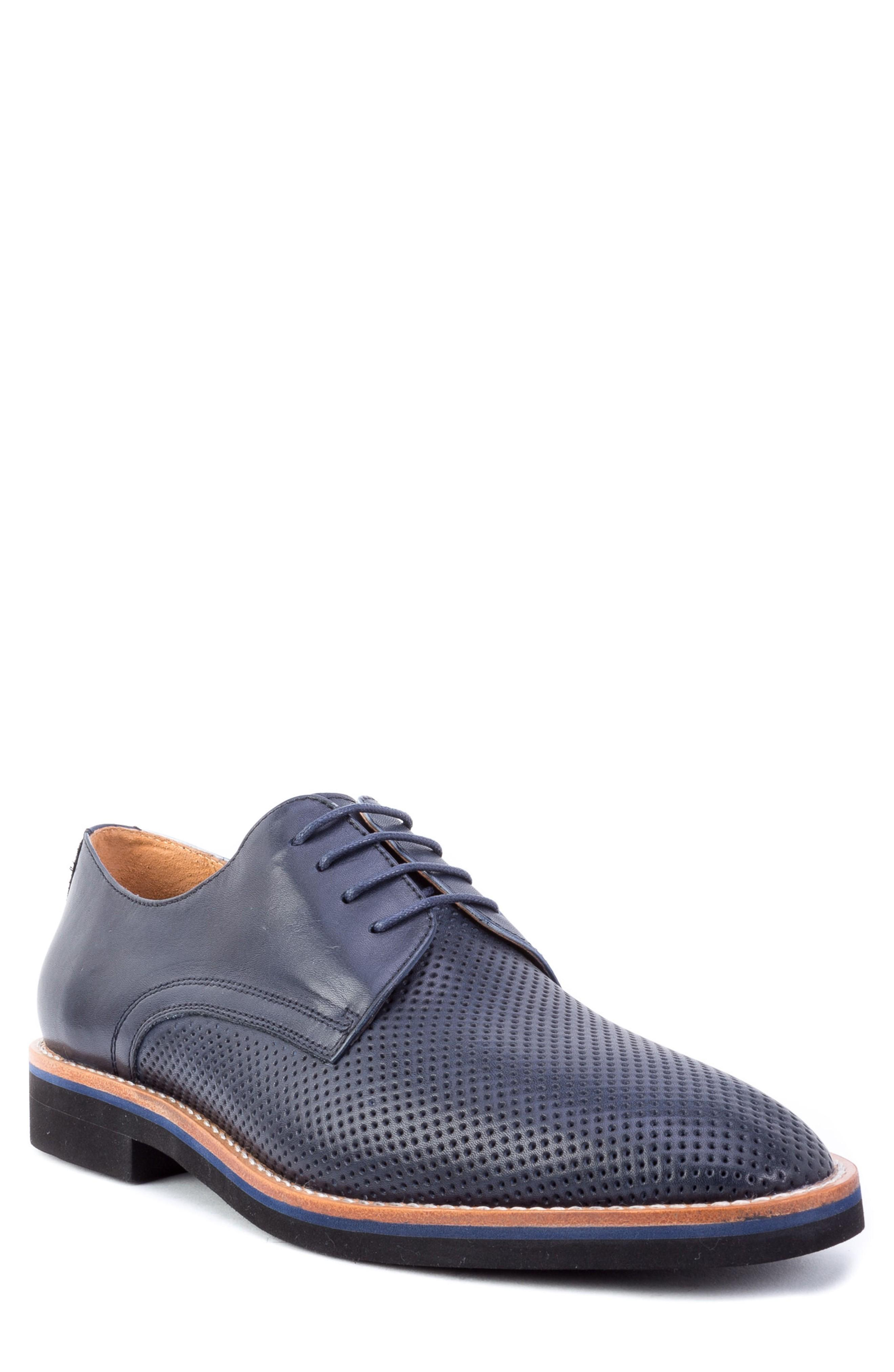 Zanzara Hartung Perforated Plain Toe Derby In Navy Leather