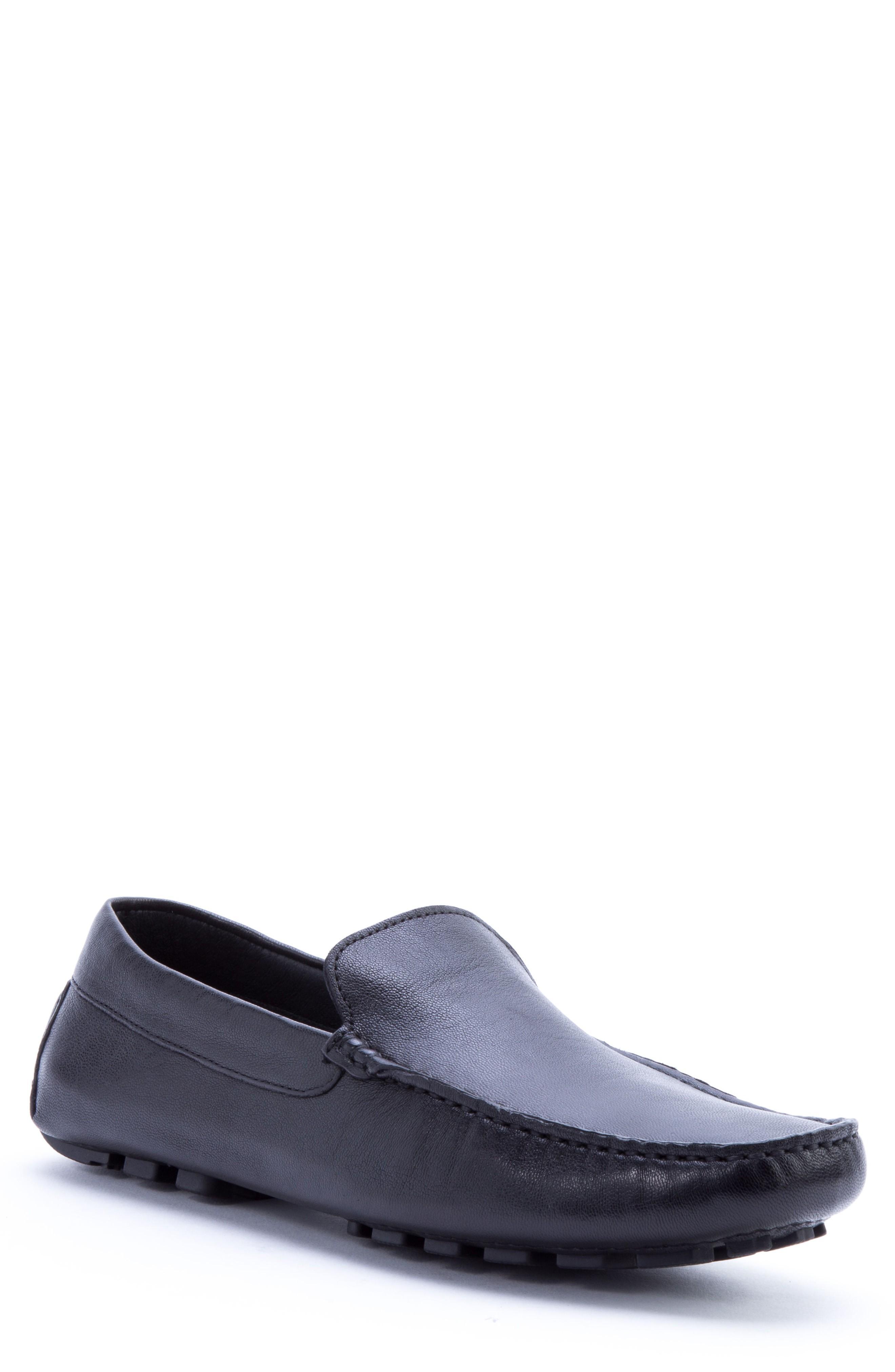 Zanzara Picasso 3 Moc Toe Driving Loafer In Black Leather