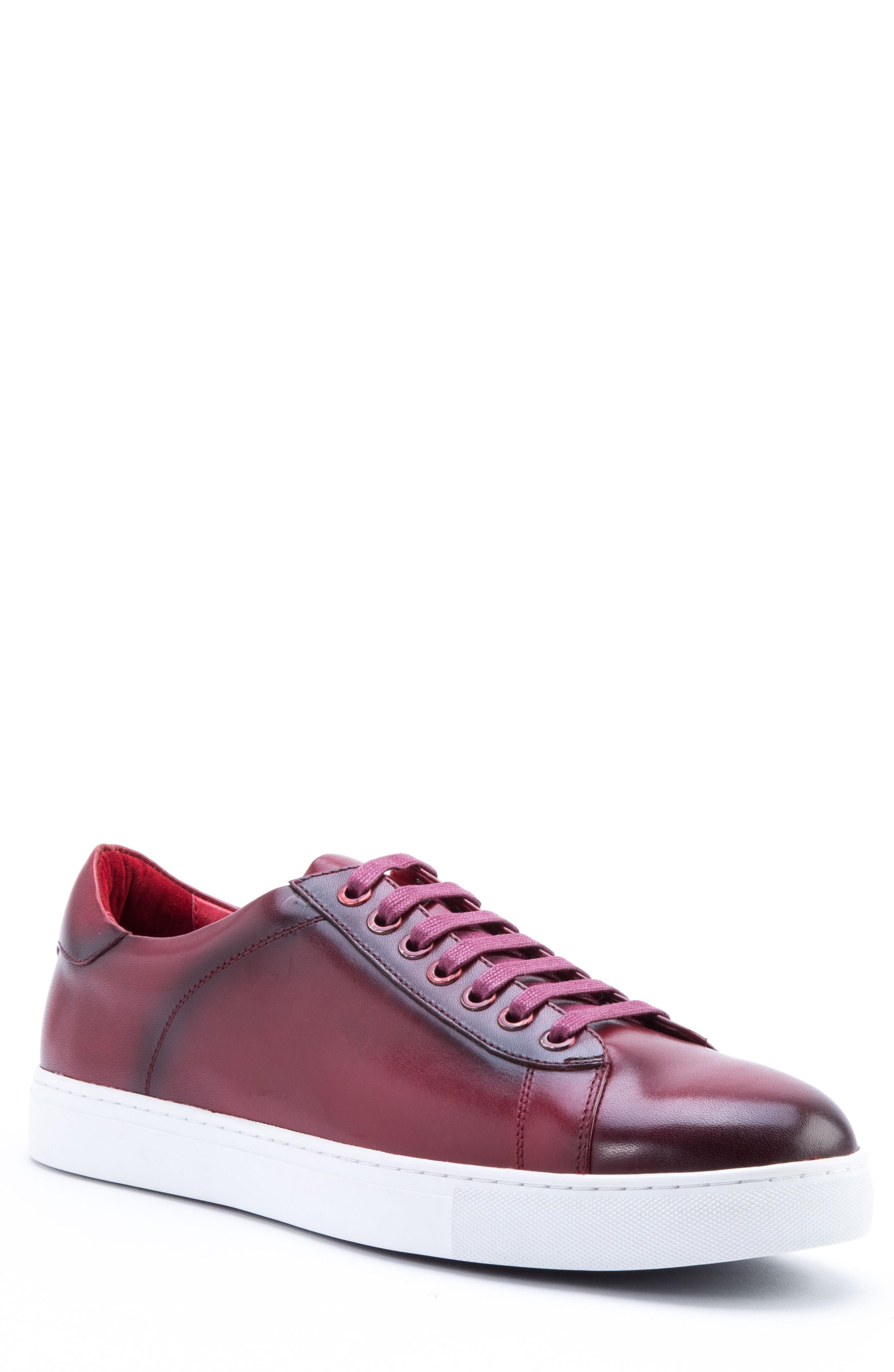 Zanzara Music Low Top Sneaker In Red Leather
